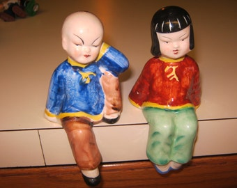 DARLING Pair of Vintage  Asian Shelf Sitters marked on the bottom