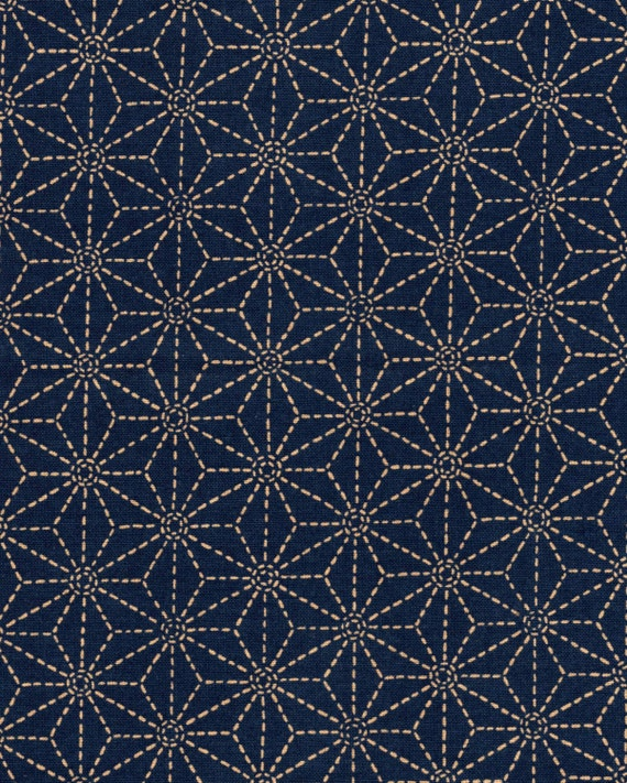 Indigo Asanoha Japanese cotton fabric