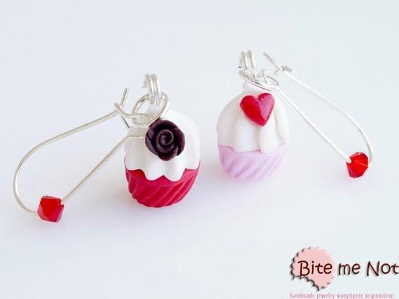 Food Jewelry Valentine Cupcakes Earrings, Miniature Food, Dangle Earrings, Polymer Clay Earrings, Cupcake Jewelry,Miniature Sweets,Mini Food