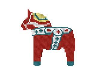 Сounted cross stitch pattern, Scandinavian Horse, dala horse needlepoint