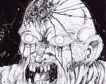 Rotten Zombie Head Art
