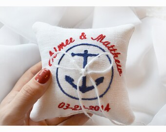 Nautical Embroidered Wedding ring pillow , anchor pillow wedding pillow , ring pillow, ring bearer pillow with Custom embroidery (LR8)