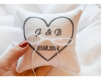 Heart Embroidered Wedding ring pillow , ring pillow, ring bearer pillow with Custom embroidery (LR6)