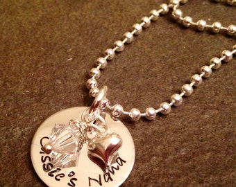 Personalized grandmother or mothers necklace with names heart charm and birthstone crystal