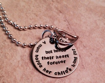 Beautiful hand stamped mother's necklace with open heart charm