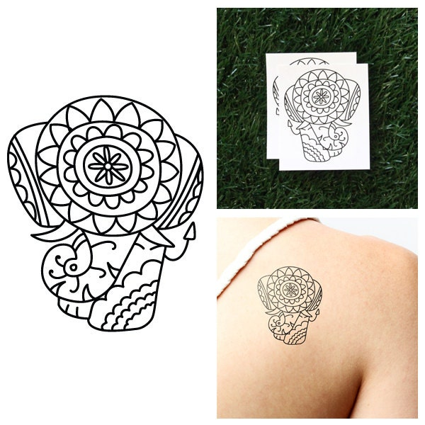 Detailed elephant temporary tattoo set of 2 for Temporary elephant tattoo