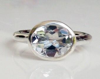 Large white topaz engagement ring, white topaz solitaire