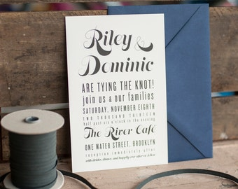 The RIley Wedding Invitation, Typography Wedding Invitation, Rustic Wedding Invitation, Wedding Invitation, Rustic wedding invitation, eco