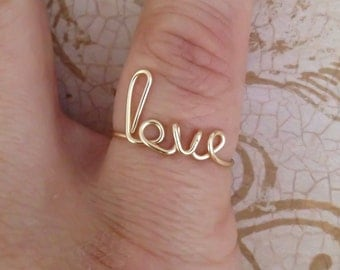 Love ring, wire love ring, silver plated, wire word ring, wire ring, adjustable ring, wire letters, letter rings, word ring