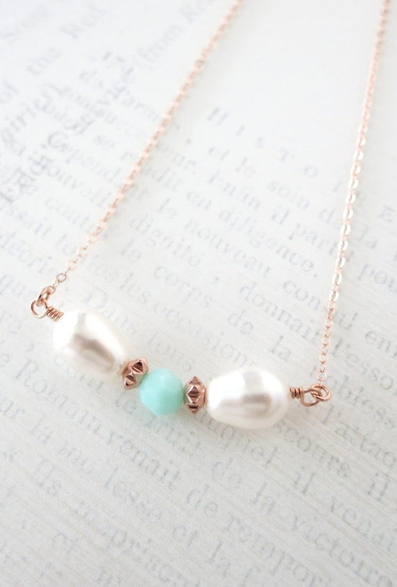 Simple Bow Necklace with Mint Bead and Teardrop Pearl Rose Gold necklace - rose gold filled, strand of Mint Green Swarovski Beads, mint
