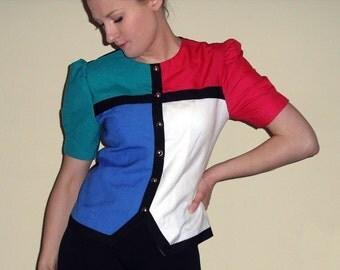 Vintage Leslie Fay color block blouse -- petites size 8