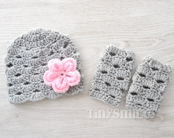 Baby Leg Warmers and Hat Set, Set for Girls, Crochet Baby Set, Baby Leg Warmers, Gray Flower Baby Hat, Newborn Baby Set, Coming Home Outfit