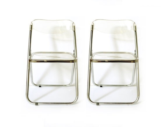 Vintage Mid Century Lucite Folding Chairs