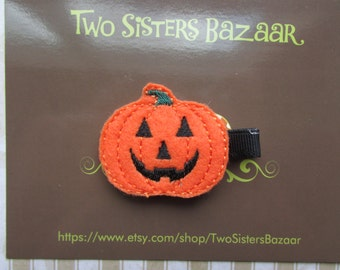 Pumpkin Hair Clip, Halloween Hair Clip, Felt Hair Clip, Embroidered Halloween Hair Clip