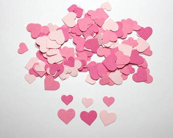 250 Mini Pink Heart Confetti, Die Cut Hearts, Valentines Day Party Decorations, Bridal Shower Table Decor, Wedding Confetti, Princess Party