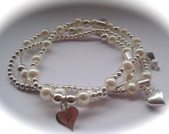 Serenity - Sterling Silver Beads, Hearts & Freshwater Pearl Bracelet Trio