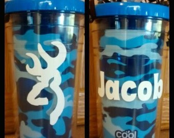 Camo Tumbler, Blue Camo, Camouflage, Personalized, Custom, Gifts For Her, Gifts For Him, BPA Free, Double Wall Tumbler