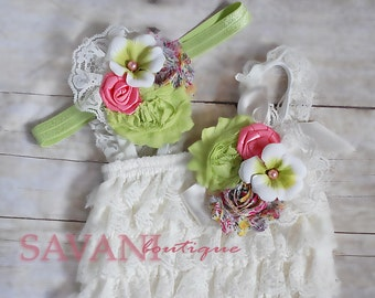 baby lace romper, 3pcs set,ivory pink green lace romper set. Lace Petti Romper , headband and clip, Baby Girl Photo Prop