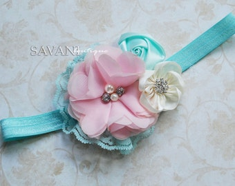 Baby headband,AQUA PINK shabby chic baby headband, pink flower headband, baby girl headband, newborn toddler headband