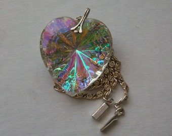 Signed GERMANY Necklace Large Glass Heart