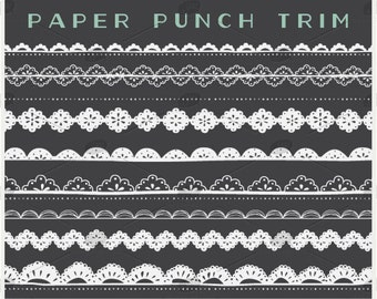 Lace & Paper Punch Trim and Borders - PNG Files - Photoshop Brushes
