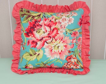 """Floral Teal, Coral, and Mint Pillow COVER made with Love Bliss Bouquet Fabric, 14"""" x 14"""""""