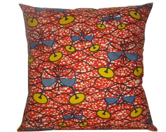 Orange Ankara Cushion, Yellow Blue Wine Glasses print, Decorative African Cushion, Africain Coussin Wax, Detola and Geek