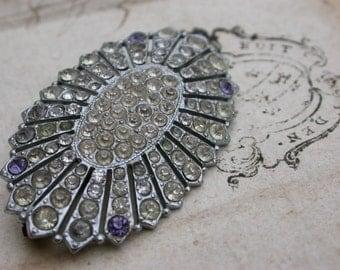 Art deco antique large brooch  diamond rhinestone Silver  brooch ornate flower filigree solid bronze brooch sun star