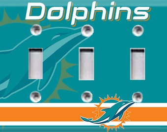 Miami Dolphins Triple Light Switch Cover