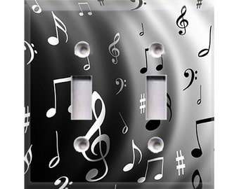 Music Notes Double Light Switch Cover