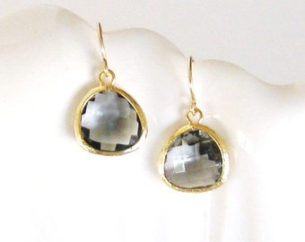 Grey Bridesmaid Earrings Charcoal Grey Earrings Gold Earrings Gray Gold Black Diamond Crystal Grey Wedding Jewelry Gold Drop Earrings