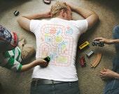 2XL, Dad's Train Shirt, Fathers Day Gift from Son, Train Track Shirt, Play Mat Shirt, Back Scratcher, Dad Birthday Gift, Step Dad Gift