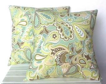 Blue Brown Beige Green floral pillow cover, cushion,decorative throw pillow, decorative pillow, accent pillow, 18x18 pillow, pillow case