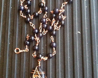 Blue Goldstone & Copper Wire-Wrapped Necklace