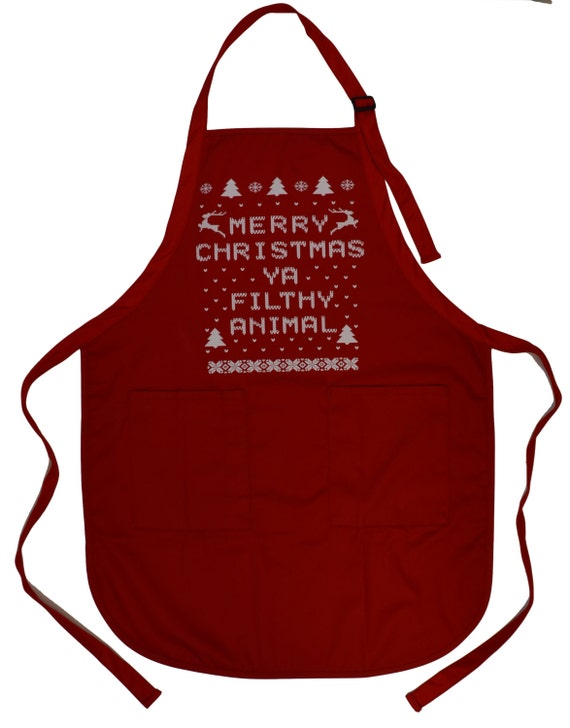 Merry Christmas Ya Filthy Animal Red Apron Ugly Sweater Contest