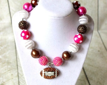 Girls chunky bead football necklace pink brown white bubblegum necklace football necklace girls chunky necklace cheerleading necklace
