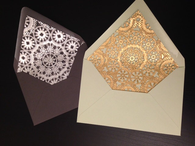 set of 10 doily envelope liners and envelopes for wedding