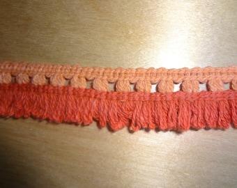 """3 Yards Orange and Light Orange Vintage 1"""" Loop Fringe BN10684"""