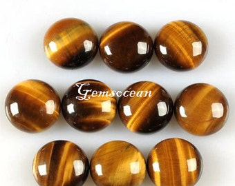Lot of Stunning 10 Pieces AAA Quality Golden Tiger Eye 25x25 mm round  Cabochon Loose Gemstone Calibrated