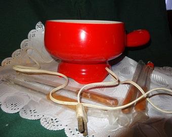 Vintage Electric Ceramic Fondue Pot with forks