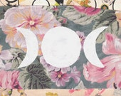 Moon Phase Floral Patch // WHITE