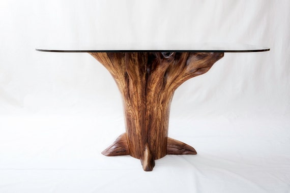 Tree stump dining table chestnut oak for Tree root dining table