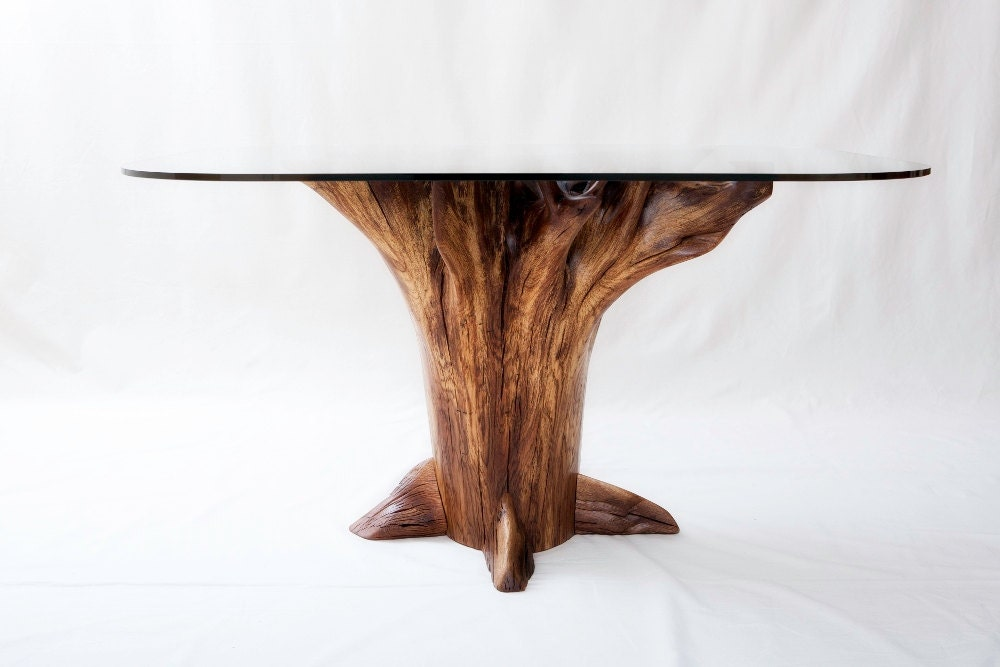 Tree stump dining table chestnut oak for Tree trunk dining table