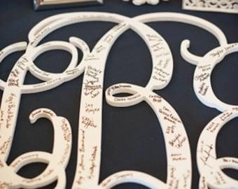 26 INCH Wooden monogram, Wall Letters, Wedding Decor, Home Decor Wood Monogram, Unpainted vine monogram