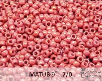 10 g Chalk Red Luster Czech MATUBO Seed Beads 7/0 (8633)