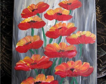 Acrylic painting, canvas art, flower painting, painting, red, red poppies