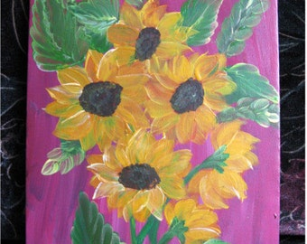 Acrylic painting, canvas art, flower painting, painting, sunflower
