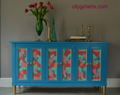 Palm Beach Regency Glam Painted Vintage Credenza with Abstract Gold Bordered Panels and Gold Legs