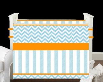 Crib bedding Baby Bedding Crib Set- Aqua chevron/stripes Orange Lime gender neutral boy girl