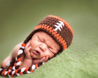 Cleveland Browns Football Earflap Hat - Newborn Photo Prop